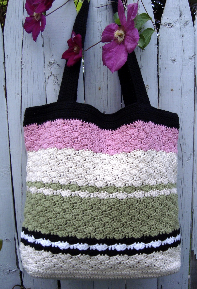 Pistachio Striped Sweet Pea Tote - CAPs Crochet & Crafts